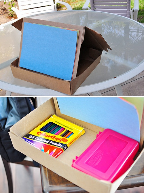 Quick Easy Kids Craft Recycled Cardboard Box Easel With Storage