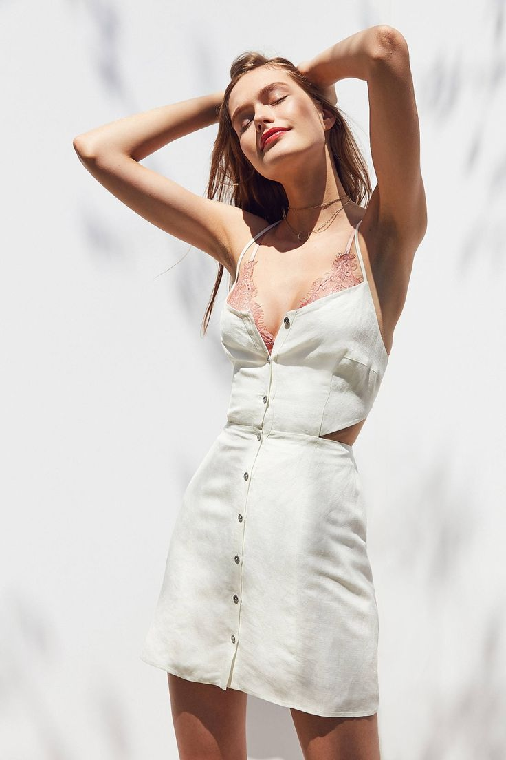Slide View: 1: Dolce Vita Bee Strappy Button-Front Mini Dress