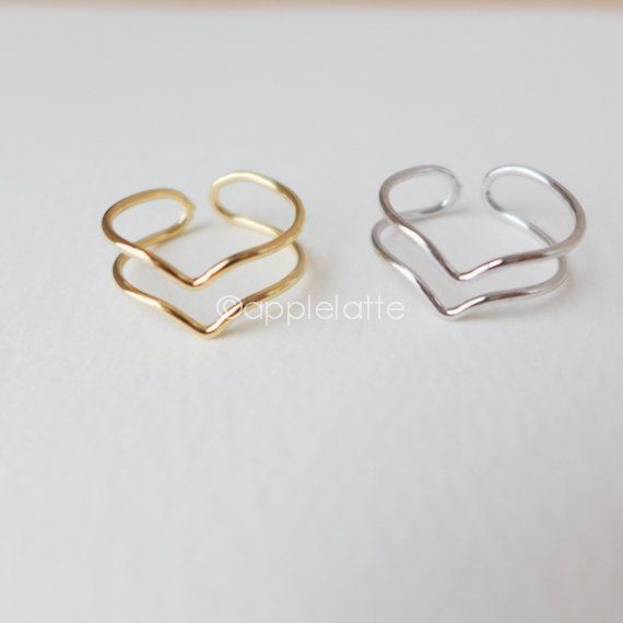 double Chevron Ring thumb ring by applelatte on Etsy, $12.00