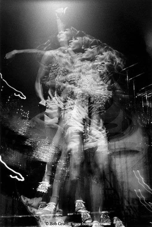 Tina Turner at the Honka Monka Club in 1970 by Bob Gruen | double exposure | movement | stage | queen of rock | move | electric | hot | singer | performer