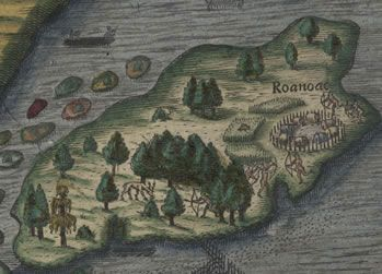 """One of the great mysteries of North America, Roanoke's so-called """"Lost Colony"""" of 90 men, 17 women and 9 children, founded in 1587 and discovered to be missing in 1590, but for the word """"Croatan"""" carved on a post. Although both the English and the Spanish searched for clues to the colony's disappearance for many years, the mystery has never been solved."""