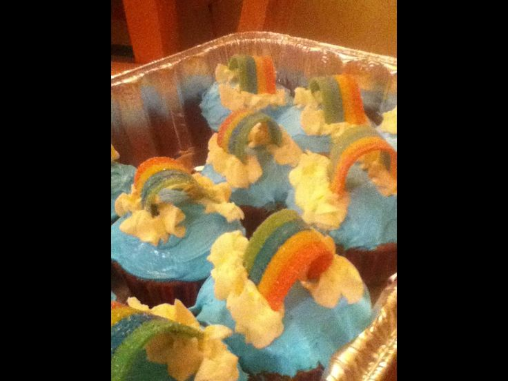 Rainbow & Cloud Cupcakes