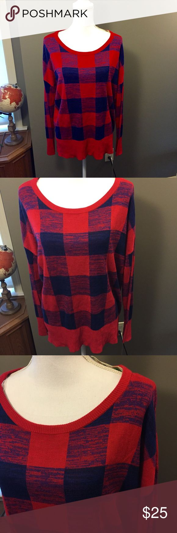 🆕 Canton River Blue Red Blue Plaid Sweater NWT Brand new with tags! Thank you for looking! Size XL canyon river blues Sweaters Crew & Scoop Necks
