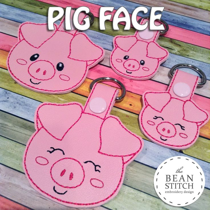 Pig Face - TWO Styles and TWO Sizes INCLUDED!!! BONUS Multis!  #thebeanstitch #beanstitchers #TBS #ith #inthehoop #machineembroidery #felties #feltie #embroidery #digitaldownload #keyfobs #bagtag #diy #snaptab #snapbean #handmade #vinyl #felt #craft #etsy #shopsmall #embroiderygift #travel #everyday #design #multipurpose #animal #farm #pig #piggy #pink #cute #BONUS #kawaii #keychain #NEW