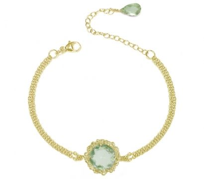 22ct gold plated Sterling Silver chain bracelet with a Green Amethyst set in a peppered textured centre piece. Other stones are available. Length 7.5in. Stone size 10mm.  http://mounir.co.uk/collections/sunflower/4929_green_amethyst_chain__bracelet