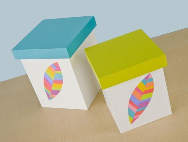 Neon feather DIY storage boxes with Mod Podge
