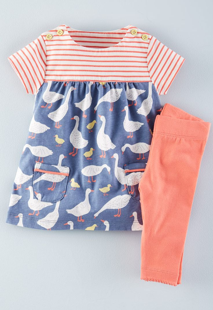 Why have just one lovely pattern when you can have two? We've coupled stripes with adorable farm animals to make this supersoft cotton dress, which has handy pockets on the front and easy-to-unfasten buttons on the shoulders. Also comes with stretchy, hardwearing leggings for a ready-made outfit.