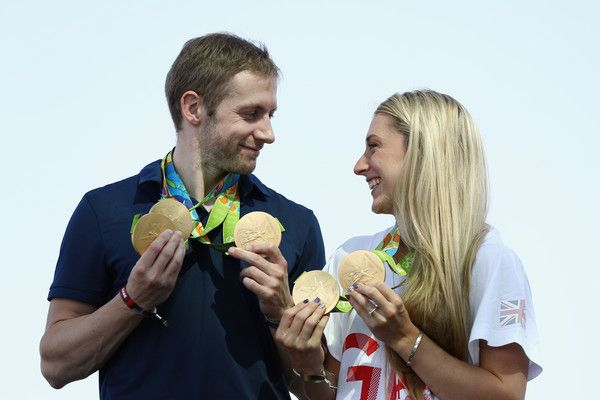 Laura Trott Photos - Team GB cyclists Laura Trott and Jason Kenny pose with…
