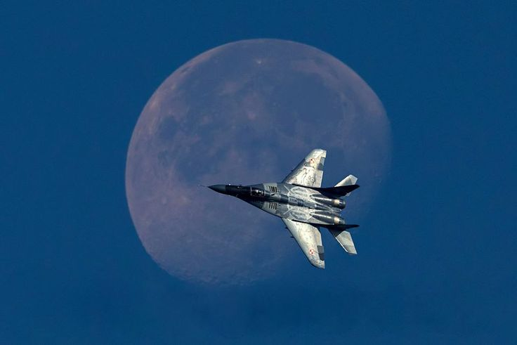 Polish Air Force MiG-29A Fulcrum Passes in Front of the Moon