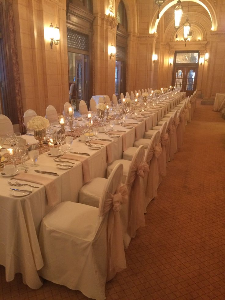 Elegant Gala dinner for 40 at the Fort Garry Hotel.  Gold, champagne, and off-white with white hydrangeas