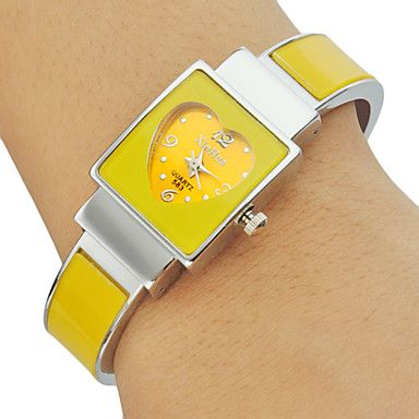 Women's Diamante Heart-shaped Pattern Rectangle Dial Alloy Band Bracelet Watch (Assorted Colors) – AUD $ 10.96