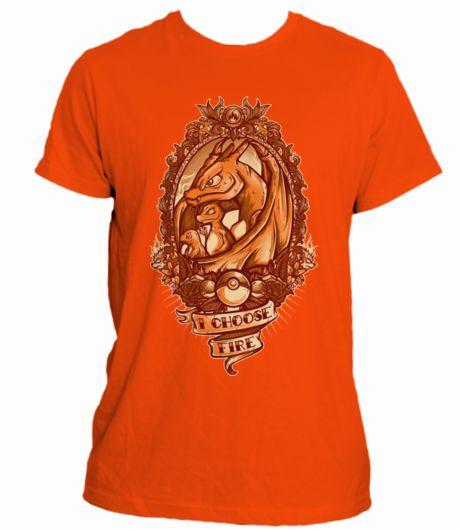 "Campaña en crowdence 'Camiseta Pokémon ""I CHOOSE FIRE""': Camiseta POKÉMON ""I CHOOSE FIRE ""  EVOLUCIONES CHARMANDER-CHARMELEON-CHARIZARD"