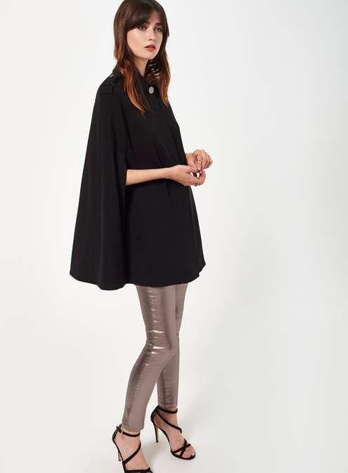Black Collar Cape Coat - Manteaux & Vestes - Vêtements - Miss Selfridge France
