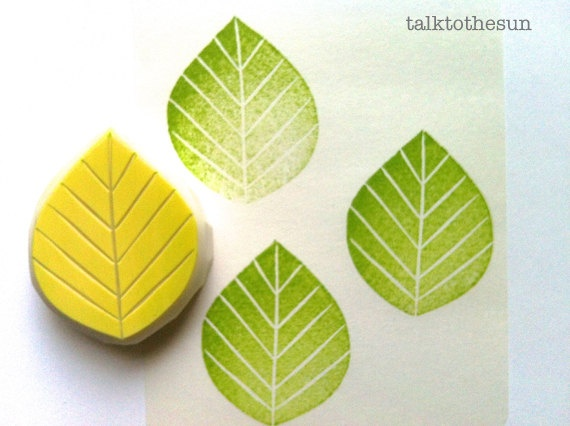 leaf hand carved rubber stamp. available at www.talktothesun.etsy.com