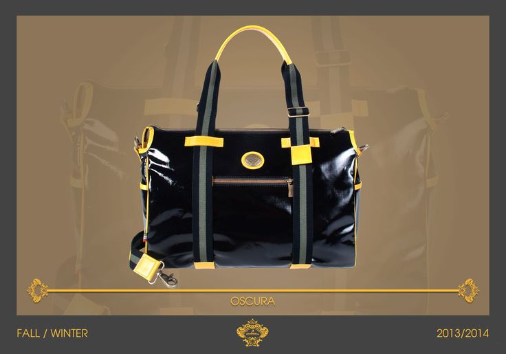 Total black look for our Orobianco OSCURA! Casual bag with yellow leather details, Oscura is a multi-pocket and functional bag, thanks also to the adjustable webbed shoulder strap. Orobianco Men's collection (Fall 2013).