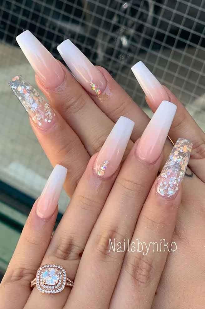 100 Beautiful Wedding Nail Art Ideas For Your Big Day Wedding Acrylic Nails Wedding Nails Design Ombre Acrylic Nails