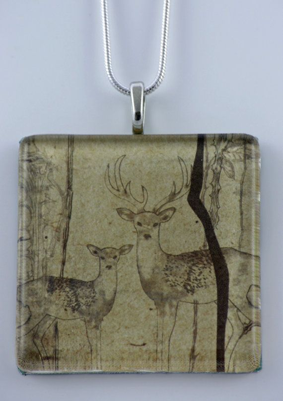 Forest deer pendant by MaryMaeDesigns on Etsy, $25.00