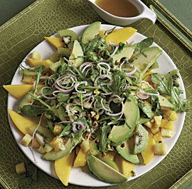 avocado mango and pineapple salad with pistachios and pickled shallots recipe-- had this at a baby shower and it was FANTASTIC!
