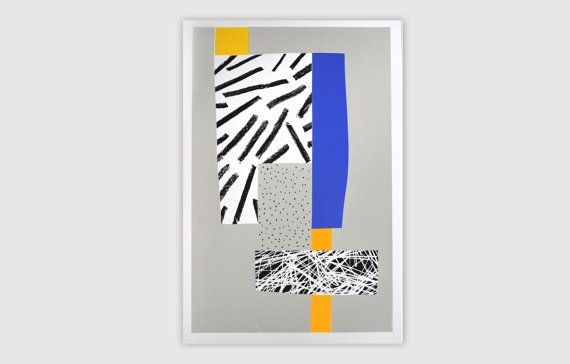 "Screenprint handmade original 40 X 60 cm gris - orange fluo ...  / ""Autoroute"""