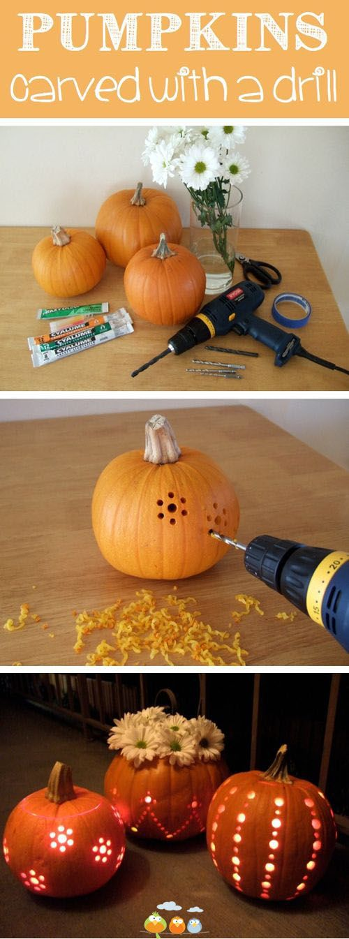 Never thought of using a drill to carve a pumpkin but these are really pretty!