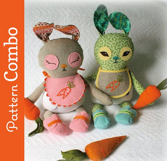 Cutie little bunnies with bibs, booties and carrots.  Adorable pattern.  From Larissa Holland at mmmcrafts
