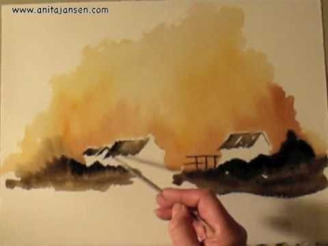 "Watercolour demo - Aquarelle   "" Evening Glow"""