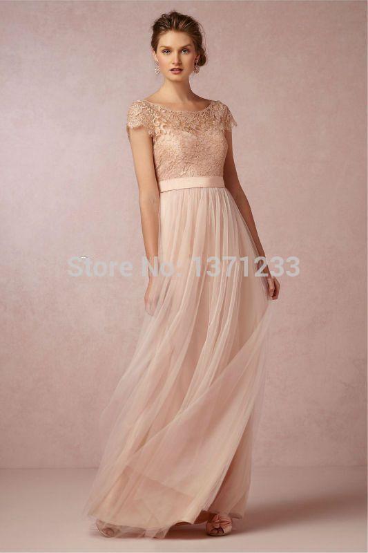 Vestido De Noiva 2015 Short Sleeve Lace Open Back Chiffon Long Floor Length Shoulder Cord Bridemaids Coral Cheap Wedding Dress