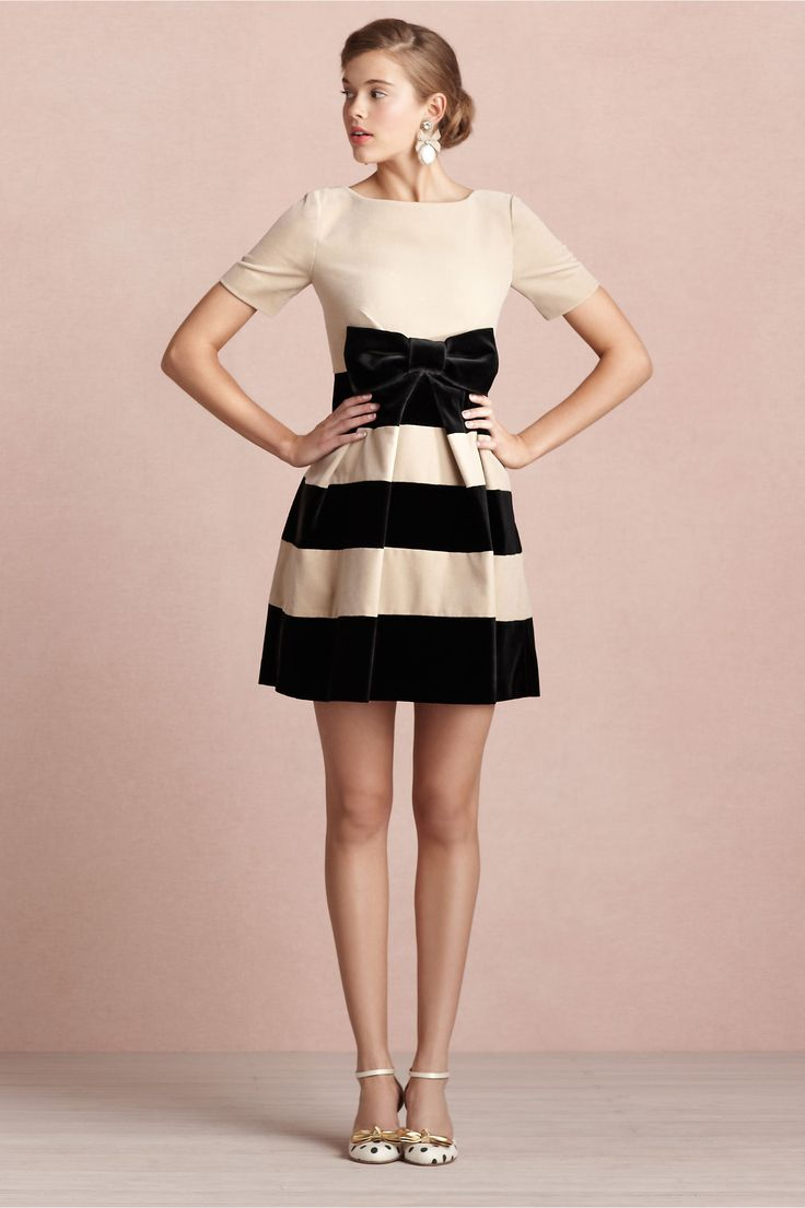 back and ivory stripe party dress