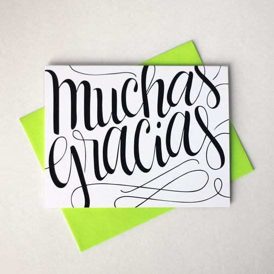 Muchas gracias - Thank you in Spanish - one card with a green envelope