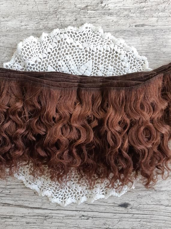 Weft doll hair mohair goat hair 1 meter for waldorf doll wig custom Blythe wig natural Wool Doll Hair Brown hair