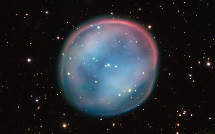 This is the South Owl Nebula captured by the Very Large Telescope in northern Chile. Planetary nebulae are quite a common phenomenon, made from the ejected and expanding gas of dying stars. They exist briefly (only a few tens of thousands of years) and create beautiful bubbles which eventually fade away as the stars grow dimmer. ESO