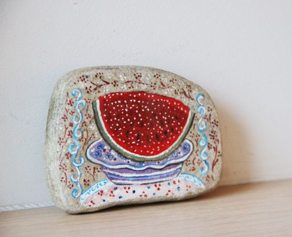 Watermelon slice painting vintage folk art by ArktosCollectibles, $34.25