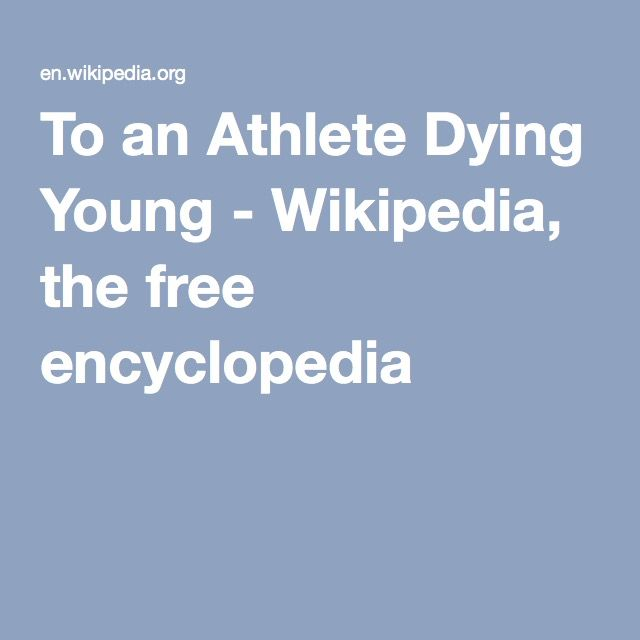 To an Athlete Dying Young - Wikipedia, the free encyclopedia