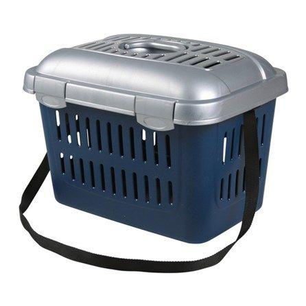 Caixa de Transporte Midi-Capri - Azul Marinho E Prata - Trixie - Plástico com cabo e alça de ombro pode ser aberto no topo fendas de ventilação para a circulação de ar ideal.  MeuAmigoPet.com.br #petshop #cachorro #cão #meuamigopet