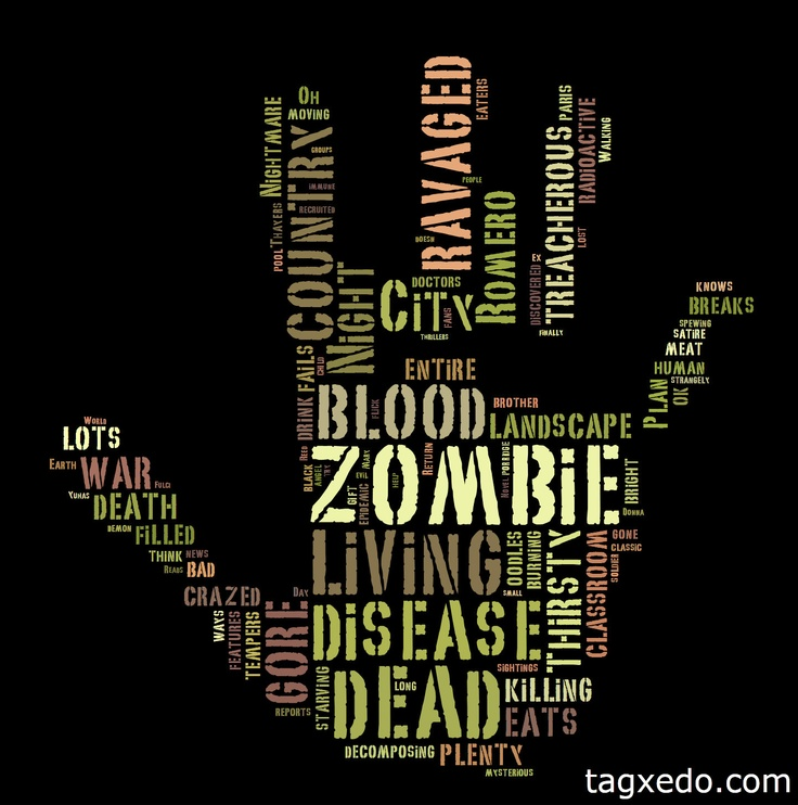 """Zombies. Put in the search word """"zombies"""" this time on Tagxedo Creator here.  Already posted this but did something Halloween like. Again, you can make a Tagxedo out of your blogs, other websites, tweets, tags, do a word search like Halloween or Christmas and then create shapes with those words. You can choose from tons of shapes, color palettes, whether your words are randomly placed or all vertical or horizontal or both. Lots of cool fonts to choose from. #diy #crafts #zombies #halloween…"""