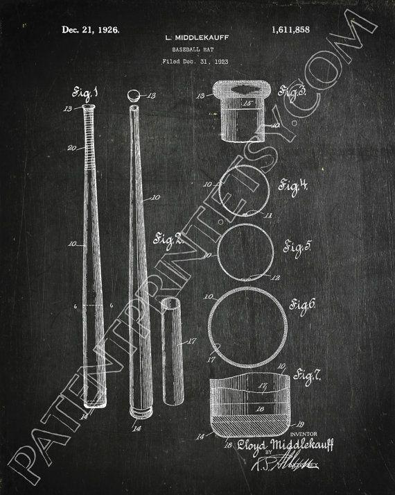 Baseball Bat Decor Baseball Bat Patent Print by PatentPrint
