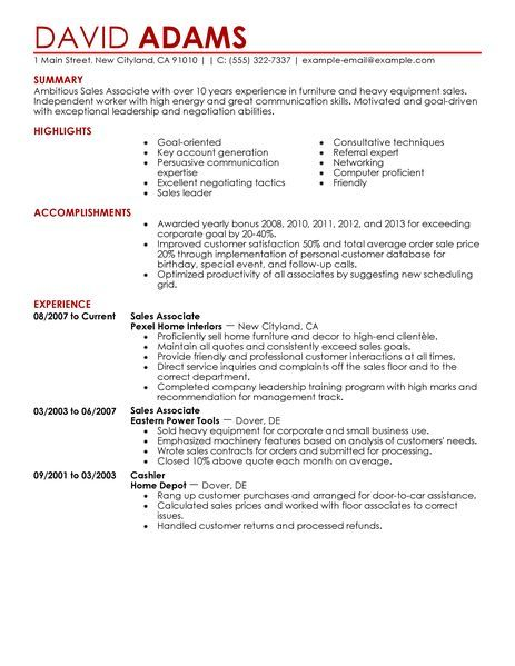29 best resumes ideas images on Pinterest Resume, Resume tips - retail sales associate resume examples