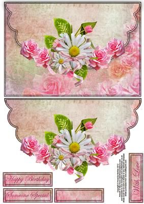 Roses and daisies envelope card  on Craftsuprint designed by Amanda McGee - Pretty envelope card featuring roses and daisies graphics - Now available for download!