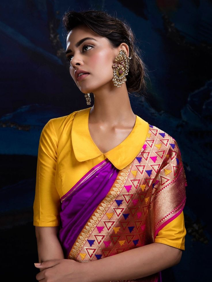 Buy Purple and Beige Banarasi Brocade Silk Saree online at Best Price for Women - SAAA19748 - Saree.com