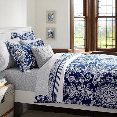 Natalia Duvet Cover Sham Royal Navy Pbteen I Love