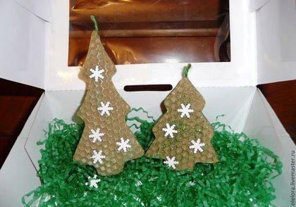 Merry Xmas! Honeycomb candles. Новогодние свечи-елочки из вощины - свеча,новый год,восковая свеча,елочка