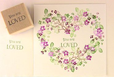 handmade Valentine/love card ... heart wreath created with peg stamps ... sweet little florals in purples and greens ... Rubber Stamp Tapestry ... deilightful!