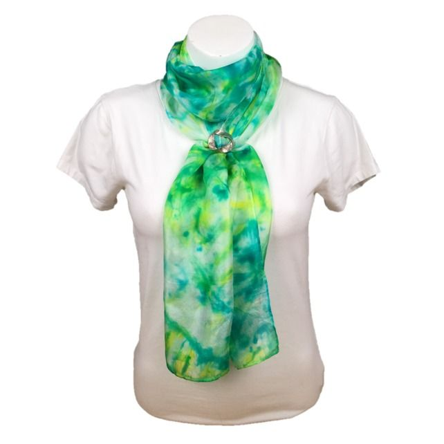 Hand dyed silk fashion scarf, ponge 5 silk, green, yellow and turquoise £20.00