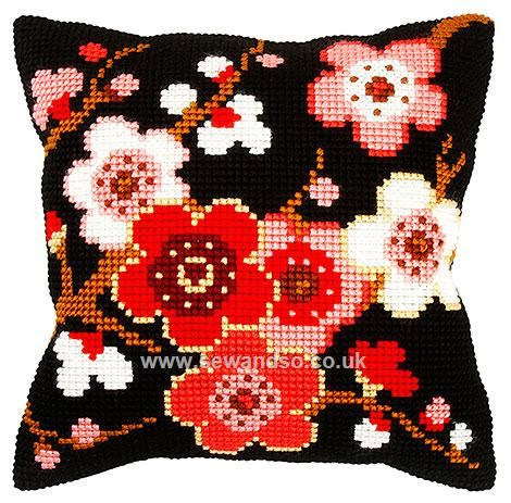 Cherry Blossom on Black Cushion Front Chunky Cross Stitch Kit