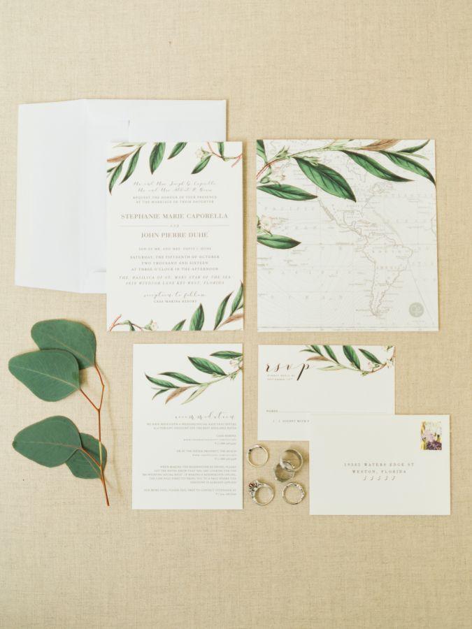 Eucalyptus wedding stationary: http://www.stylemepretty.com/2017/01/02/historical-key-west-wedding/ Photography: Care Studios - http://careweddings.com/