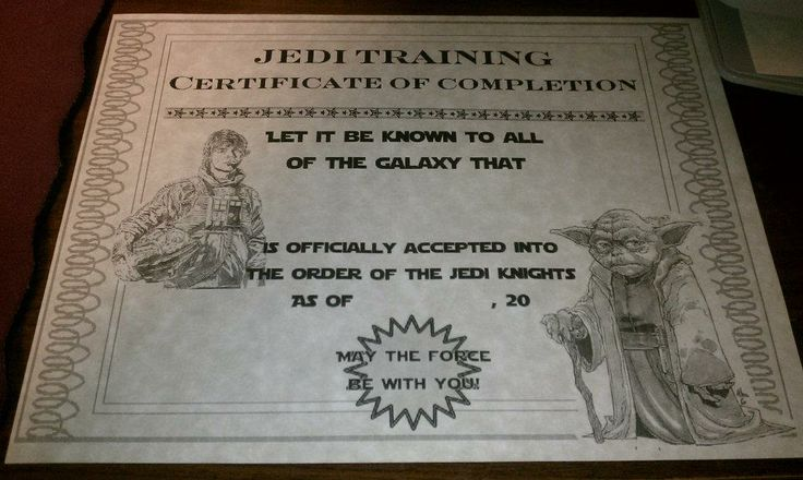 Table for Five: Jedi Training Academy Certificate for kids after completion.