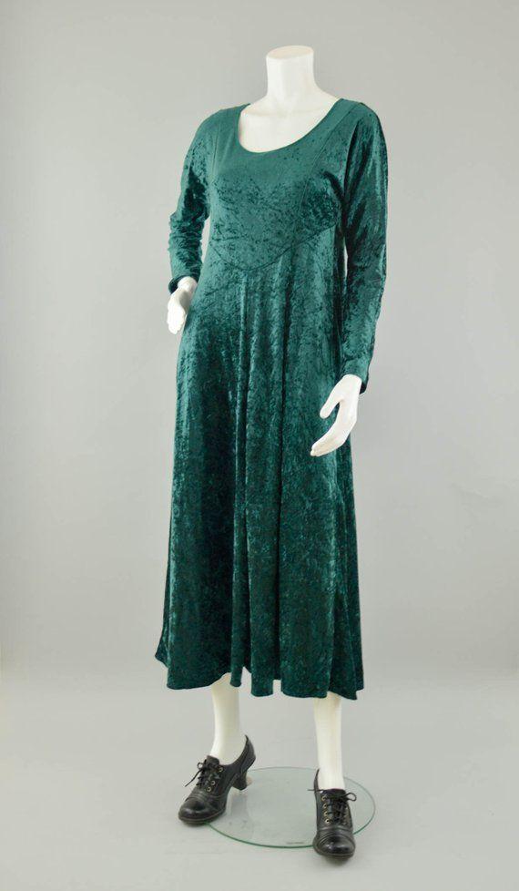 53fd06f47a6 90s Crushed Velvet Dress Vintage Green Velvet Maxi Dress Long