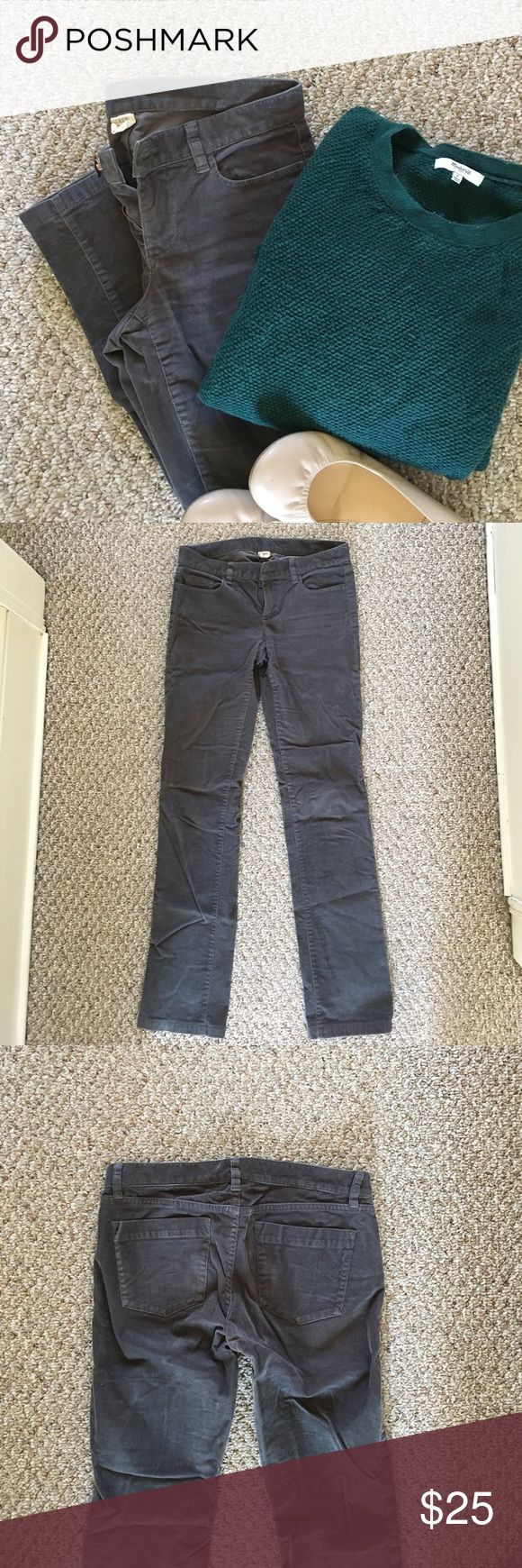 J. Crew City-fit luxe cord trouser J. Crew Gray corduroy pant. City fit. Hardly worn, just a tad too tight in calves. Pet/smoke free home. J. Crew Pants Skinny