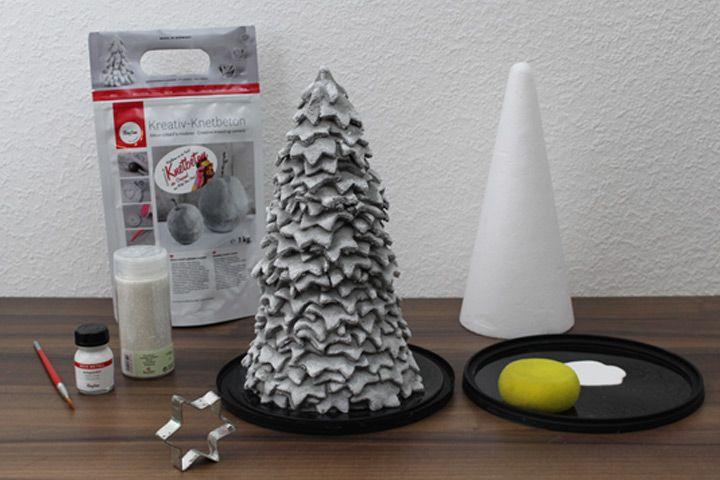 DIY Tannebaum aus Knetbeton selber machen. Anleitung für tolle Weihnachtsdeko