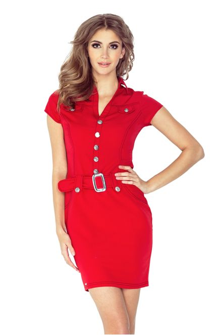 4ddd25ad54b Dámské šaty elegantní značkové s páskem a krátkým rukávem červené ...